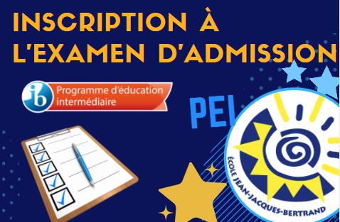 Inscriptions aux examens d'admission pour le Programme d'éducation intermédiaire